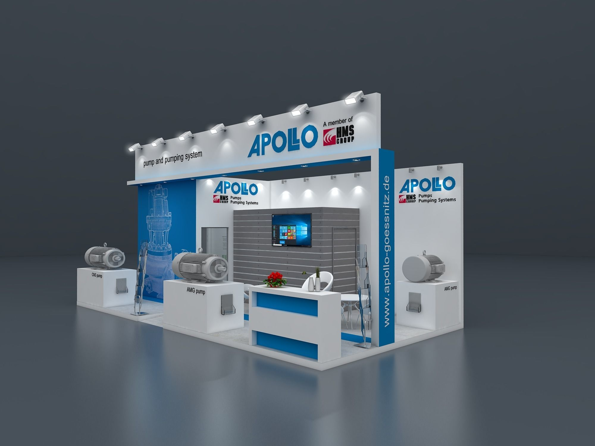 Exhibition stand 3D model 8x4 mtr 3 sides open 3D model | 3D model