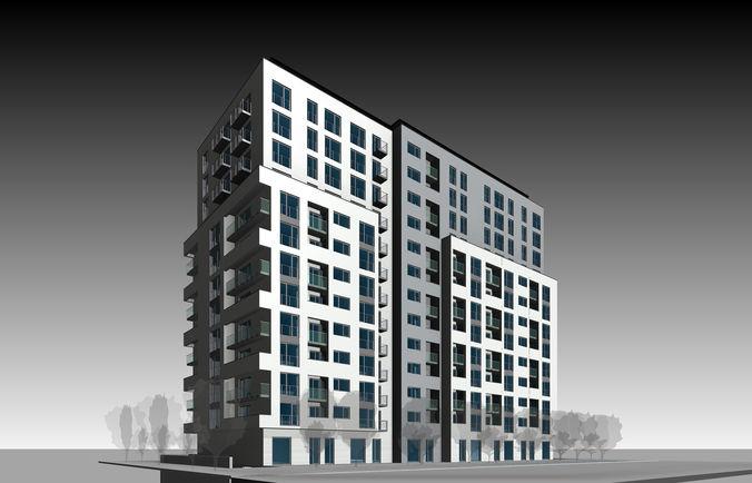 apartment building 3d model obj mtl fbx dae dwg gsm rfa rvt 1