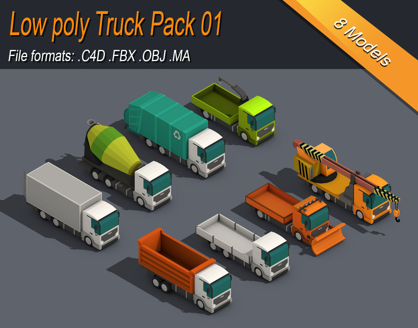 Low Poly Truck Pack 01 Isometric