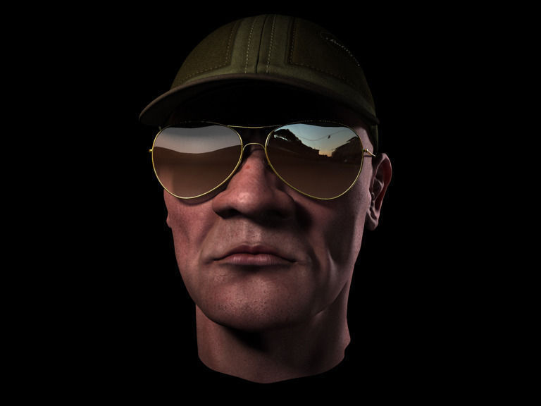 head with cap and sunglass