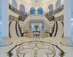 classic stairs entrance hall 3D model