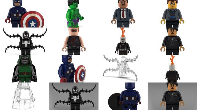 movie character brick minifigures - marvel 3d model max obj mtl 3ds c4d lwo lw lws ma mb 1