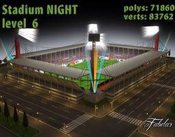 3d model stadium level 6 night low-poly