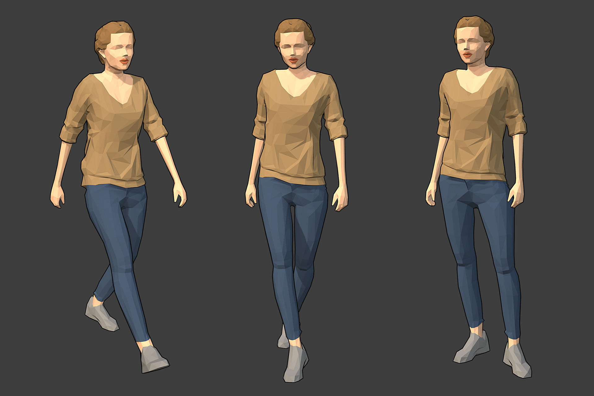 Rigged Lowpoly Female Character - Victoria