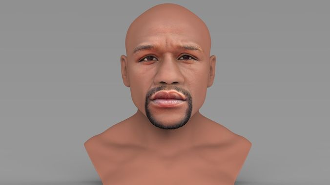 floyd mayweather bust ready for full color 3d printing 3d model obj mtl fbx stl wrl wrz 1