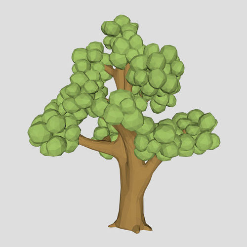 Low Poly Elm Tree 3d Model For Game Or Cartoon 3d Model