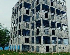 3D model Post Apocalypse Old Building - Damaged