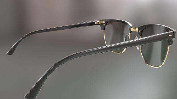 70d0348bf0 rayban clubmaster glasses 3d model 3d model max obj mtl fbx 21