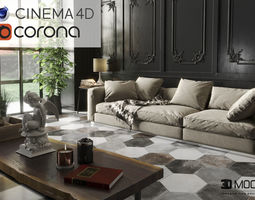Black Living 3DMOOD in cinema 4D and Corona ready to