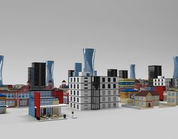 3D model low-poly Low Poly Buildings Pack