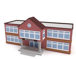 3D Low Poly School Building VR / AR ready