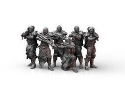 Sci Fi Infantry Squad Miniatures 3D print model