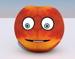 3D model Animated Fruit Nectarine Character - Mouth and 1