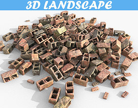 3D model Low poly Realistic Debris Bricks - Game Ready
