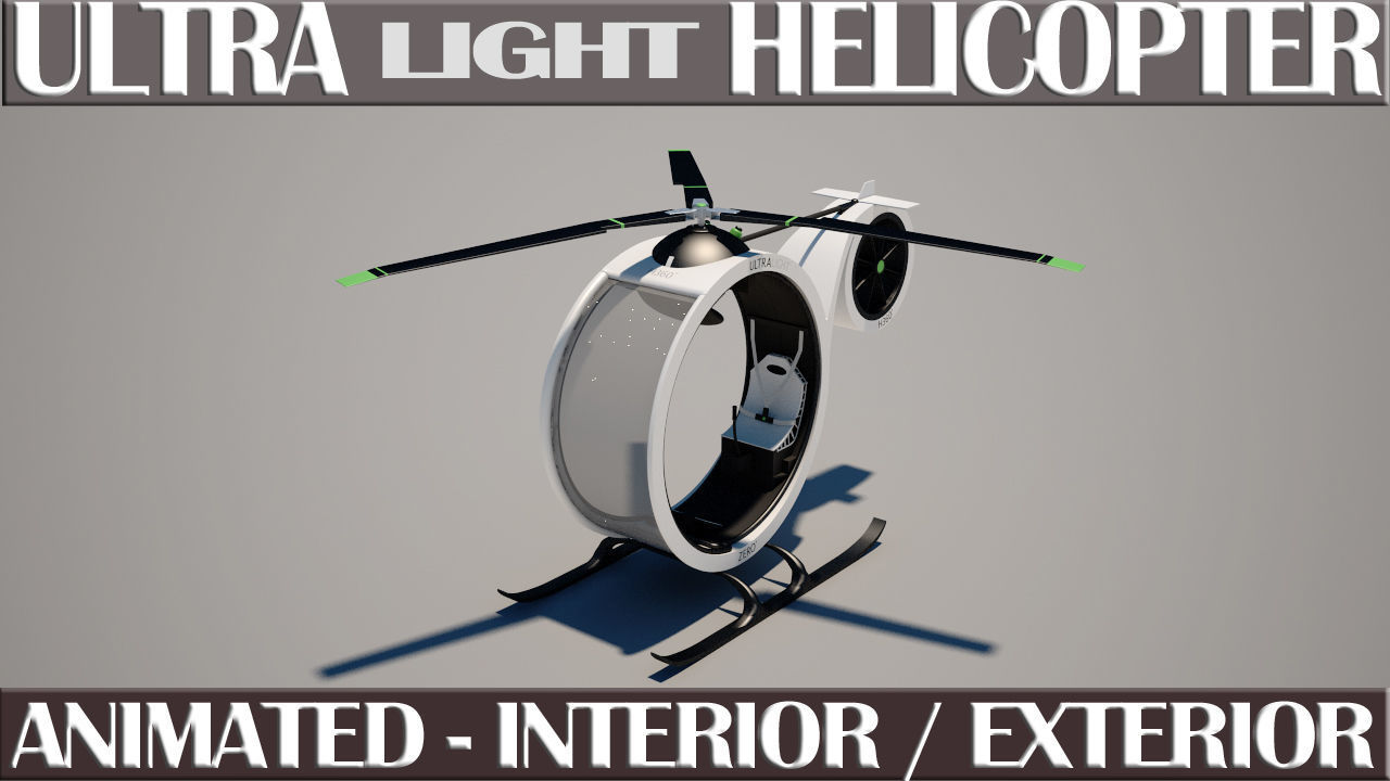 Ultra Light Helicopter Animated