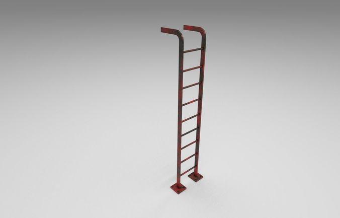 metal ladder 3d model low-poly obj mtl 3ds fbx dae 1