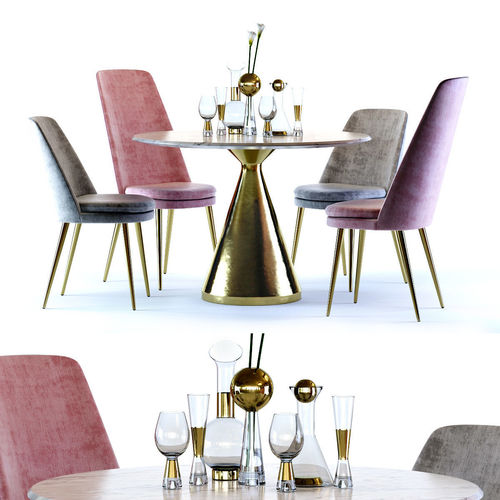 West Elm Silhouette Table and Finley Chair | 3D model