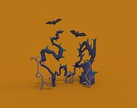 3D model Halloween trees and bats