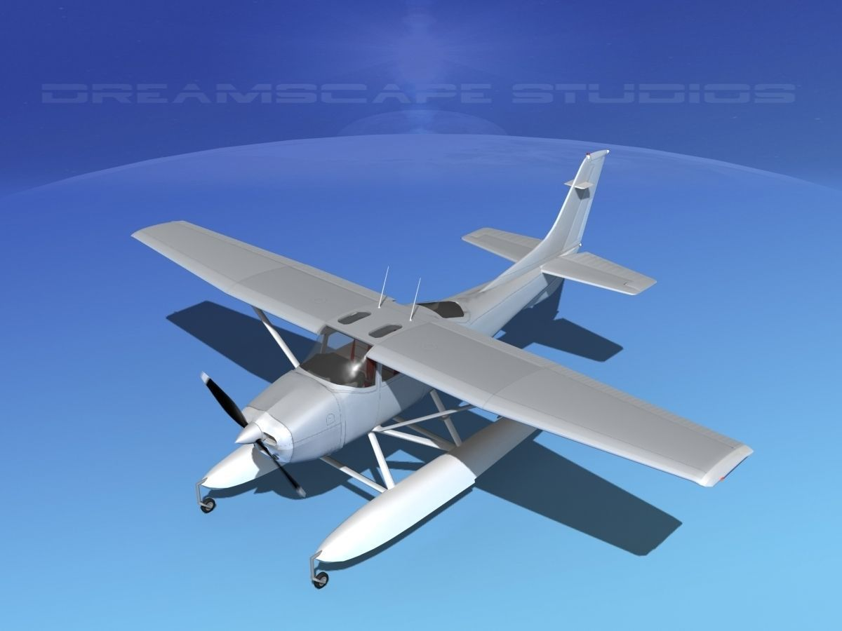 cessna 182 seaplane bare metal 3d model animated rigged. Black Bedroom Furniture Sets. Home Design Ideas