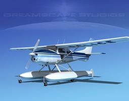 cessna 182 seaplane state police 3d model rigged animated max obj 3ds lwo lw lws dxf stl