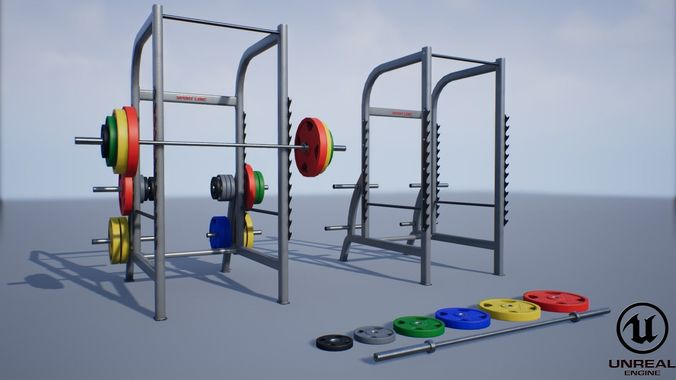 squat rack  3d model obj mtl fbx ma mb unitypackage prefab uasset mel 1