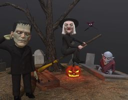 animated Halloween characters pack rigged animated 3D 1