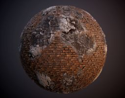 Damaged Brick Concrete Rebar PBR Texture 3D