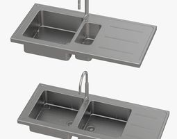 Sink and Faucet 3D model game-ready