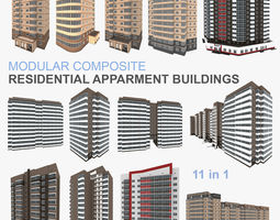 3D model Residential Apartment Buildings 11 in 1