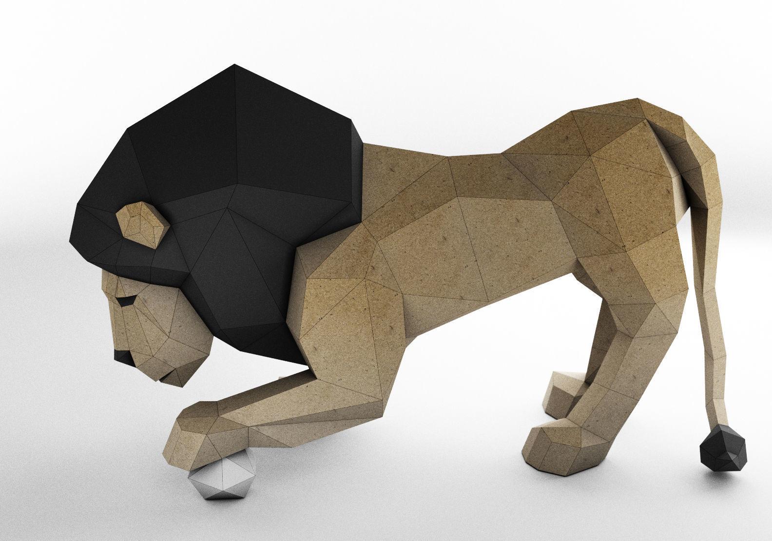 Lowpoly lion papercraft | 3D Print Model