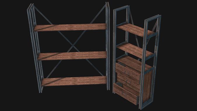 rustik shelf set 3d model low-poly max obj 3ds fbx dxf dae 1