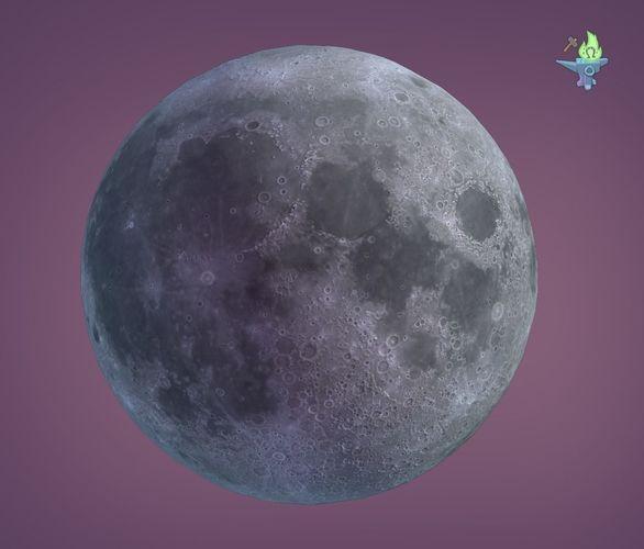 low poly moon 3d model low-poly obj mtl 3ds fbx stl blend 1