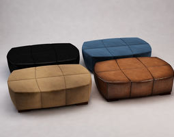 Suede and Leather Benches 3D model realistic