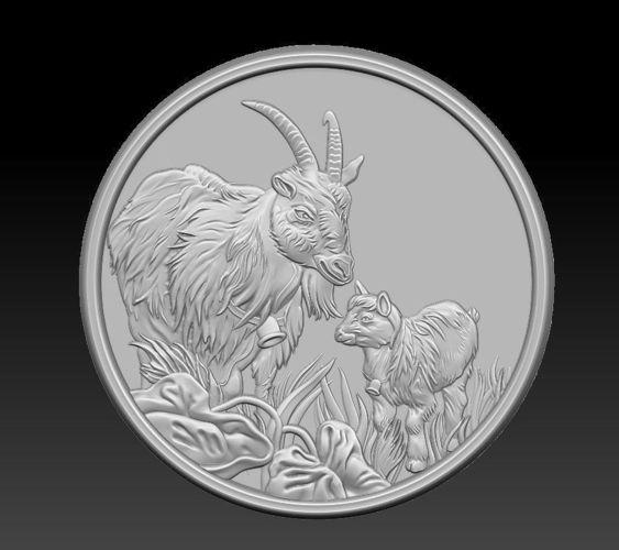 bas-relief of goats 3d model obj mtl stl 1