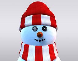 Snowman 3D asset low-poly