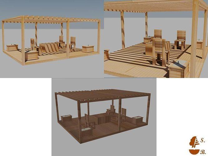 Terrace Furniture 3D Model DWG