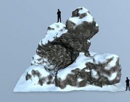 rocks snow 3D asset game-ready