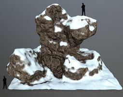3D asset low-poly mosyice snow rocks