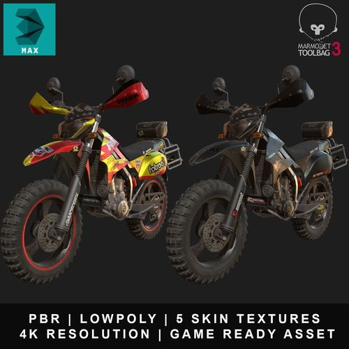 kawasaki klx250 3d model low-poly max obj mtl 3ds fbx tga tbscene tbmat 1