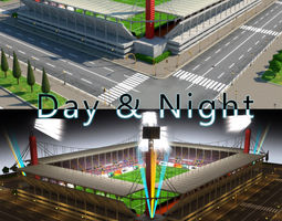 stadium level 6 day-night low-poly 3d model
