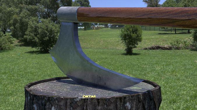 ortas axe no 7 huge realistic axe 3d printable 3d model obj mtl fbx stl 1