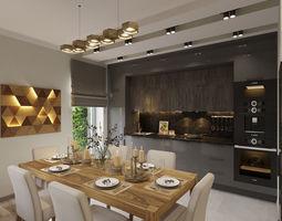 Living room kitchen 3D model