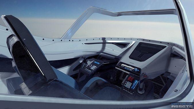 sci fi futuristic fighter cockpit 3d model max obj mtl 3ds fbx 1