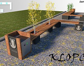game-ready street park modern bench 3d model