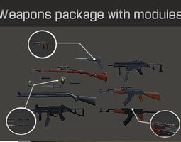 Weapons package with modules 3D model