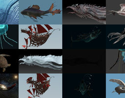 Fantastical Aquatic Collection 3D model sea