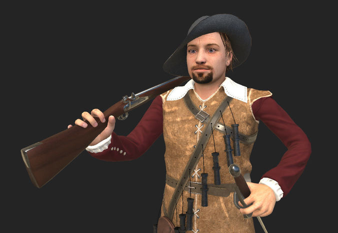 musketeer game model 3d model low-poly rigged animated max fbx 1