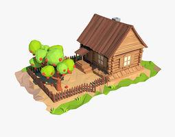 Cartoon wooden house 3D asset realtime