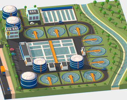 Isometric Water Treatment Plant Large Size 3D model