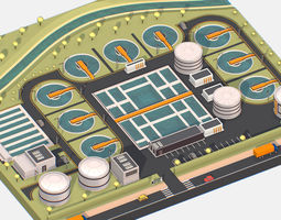 3D asset Isometric Water Treatment Plant Large Platform